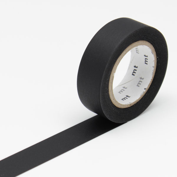 10m washi tape 15mm matte black online kaufen. Black Bedroom Furniture Sets. Home Design Ideas