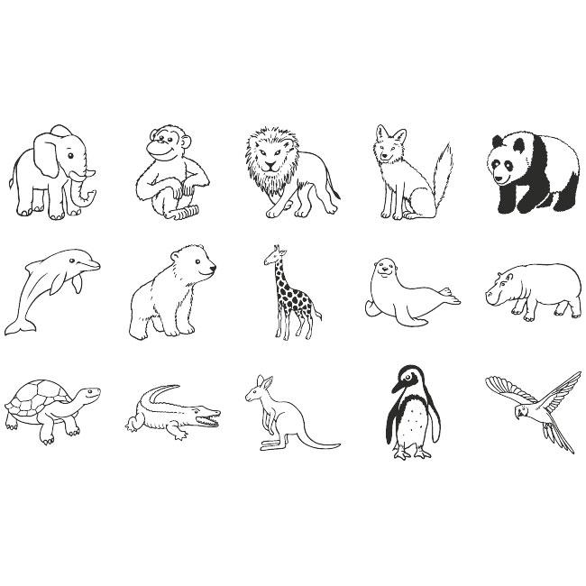 Stempel-Set Zootiere 15 Stk. online kaufen