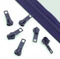10 Stück Schieber lila für 5mm Profil-Reißverschluss
