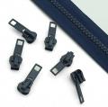 10 Stück Schieber dunkelblau für 5mm Profil-Reißverschluss