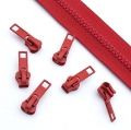 10 Stück Schieber rot für 5mm Profil-Reißverschluss