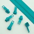 10 Stück Schieber türkis für 5mm Profil-Reißverschluss