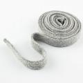 Flachkordel Hoodiekordel grau meliert 15mm Baumwolle