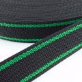 Gurtband zweifarbig schwarz grün 25mm