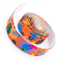 4m Gummiband 25mm Flowers orange