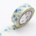 10m Washi Tape 15mm Heart Stamp Blue