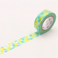 10m Washi Tape 15mm Maru Sankaku Shikaku Blue