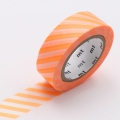 10m Washi Tape 15mm Stripe Shocking Orange