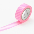 10m Washi Tape 15mm Stripe Shocking Pink
