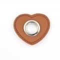 Ösen-Patches braun Herz 10mm - Öse silber