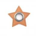 Ösen-Patches braun Stern 10mm - Öse schwarz brüniert