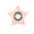 Ösen-Patches rosa Stern 10mm - Öse schwarz brüniert
