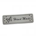 4 Stück Handmade-Label grau 50mm x 15mm