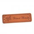 4 Stück Handmade-Label braun 50mm x 15mm