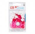 Prym Love Color Snaps, Herz, 12,4mm, rot/weiß/pink 393031