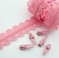 Schieber für Spitzen-Reißverschluss rosa 3mm