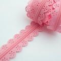 Spitzenreißverschluss rosa 3mm Meterware