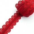 Spitzenreißverschluss rot 3mm Meterware