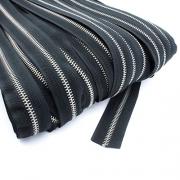 Metall-Endlosreißverschluss silber Meterware