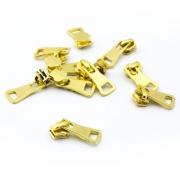 Schieber für Metall-Endlosreißverschluss gold