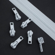 10 Stück Schieber weiß für 5mm Profil-Reißverschluss