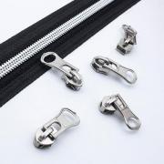 10 Stück Schieber für 5mm Reißverschluss silber