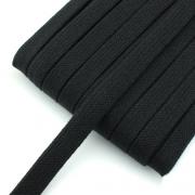 Flachkordel schwarz 15mm Baumwolle
