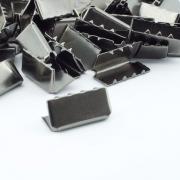 10 Stück Gurtband Endstück 20mm schwarz brüniert
