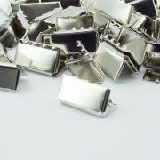 10 Stück Gurtband Endstück 20mm silber