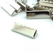 10 Stück Gurtband Endstück 40mm silber
