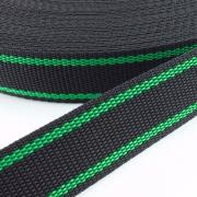 Gurtband zweifarbig schwarz grün 30mm