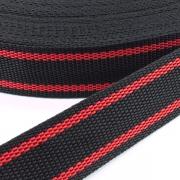 Gurtband zweifarbig schwarz rot 25mm