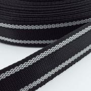 Gurtband zweifarbig schwarz weiß 20mm