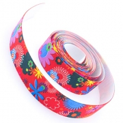 4m Gummiband 25mm Flowers rot