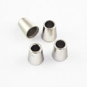 4 Stück Kordel-Endstück aus Metall silber
