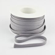 Flachkordel 10mm Polyester hellgrau