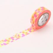 10m Washi Tape 15mm Maru Sankaku Shikaku Pink