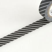10m Washi Tape 15mm Stripe Black