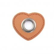 Ösen-Patches braun Herz 10mm - Öse schwarz brüniert