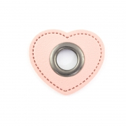 Ösen-Patches rosa Herz 10mm - Öse schwarz brüniert