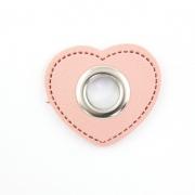 Ösen-Patches rosa Herz 10mm - Öse silber