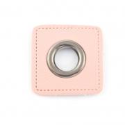 Ösen-Patches rosa 10mm - Öse schwarz brüniert