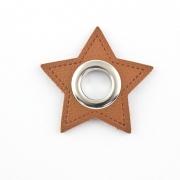 Ösen-Patches braun Stern 10mm - Öse silber