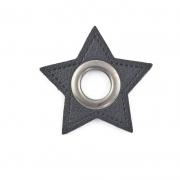 Ösen-Patches schwarz Stern 10mm - Öse schwarz brüniert
