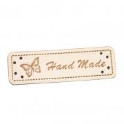4 Stück Handmade-Label creme 50mm x 15mm