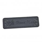 4 Stück Handmade-Label schwarz 50mm x 15mm
