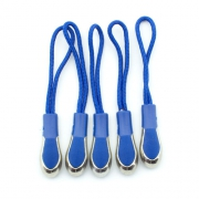 Reißverschlussanhänger blau mit Metallspitze 5er Pack
