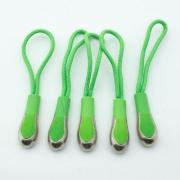 Reißverschlussanhänger grün mit Metallspitze 5er Pack