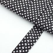 4m Schrägband mit Punkten schwarz Baumwolle
