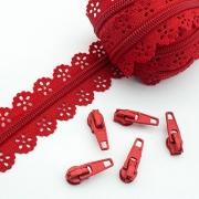 Schieber für Spitzen-Reißverschluss rot 3mm
